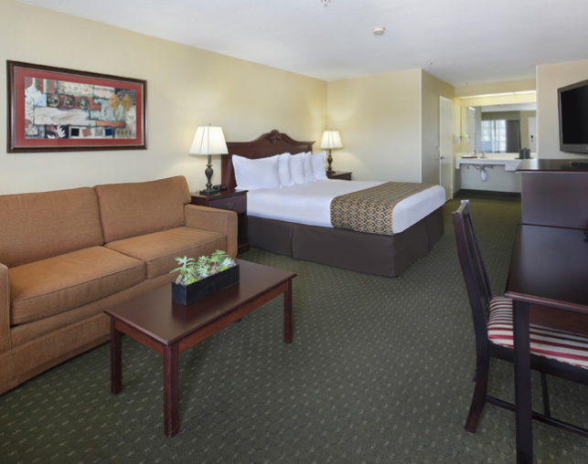 ADA king guest room at our Anaheim hotel across the street from Disneyland®